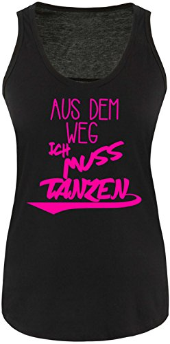 ezyshirt Aus dem Weg ich muss Tanzen Damen Tanktop Schwarz/Neonpink