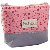Gankmachine Cremallera Lindo Lienzo Caja de lápiz de Bolsa Lindo Portable del Monedero de la Moneda Clave del Maquillaje Pink