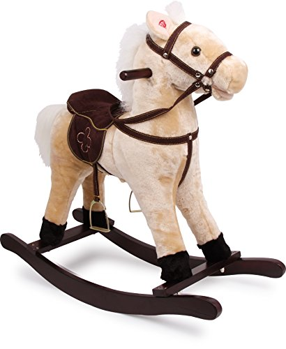4101 cavallo a dondolo zottel small foot, in legno e tessuto, con effetti sonori (suono di zoccoli al galoppo e nitrito), dai 3 anni di età