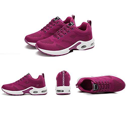 Scarpe Da Corsa Da Donna Air Mesh Scarpe Da Ginnastica Stringate Sneaker  Rosso Rosa Nero Viola ... d75115f6a5b