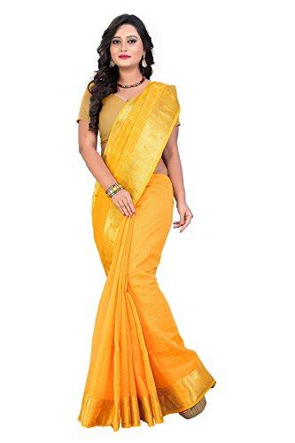 Active Women's Cotton Zari Jacquard Saree (Yellow)