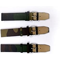 Military Army Green Fabric Canvas Watch Band Strap 18mm Assorted Designs 868R18