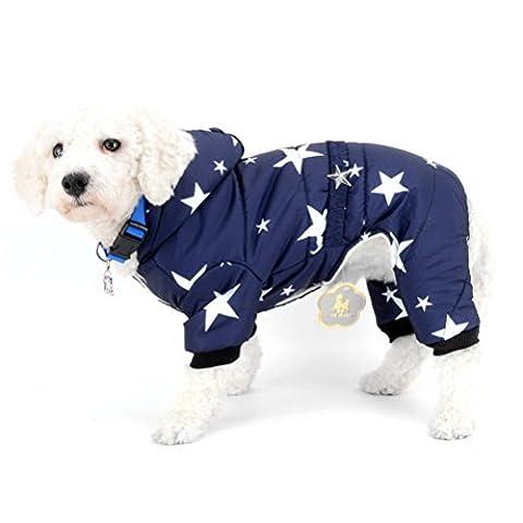 Zunea Petit Chien Manteau d'hiver avec doublure en polaire à capuche pour animal domestique Combinaison pyjama étoiles Ceinture Chiot Chat Chien Chihuahua Vêtements Apparel