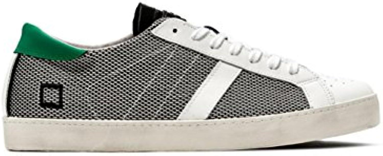 D.a.t.e. Sneaker Hill Low Argegno in Tessuto e Pelle Bianca e Nera