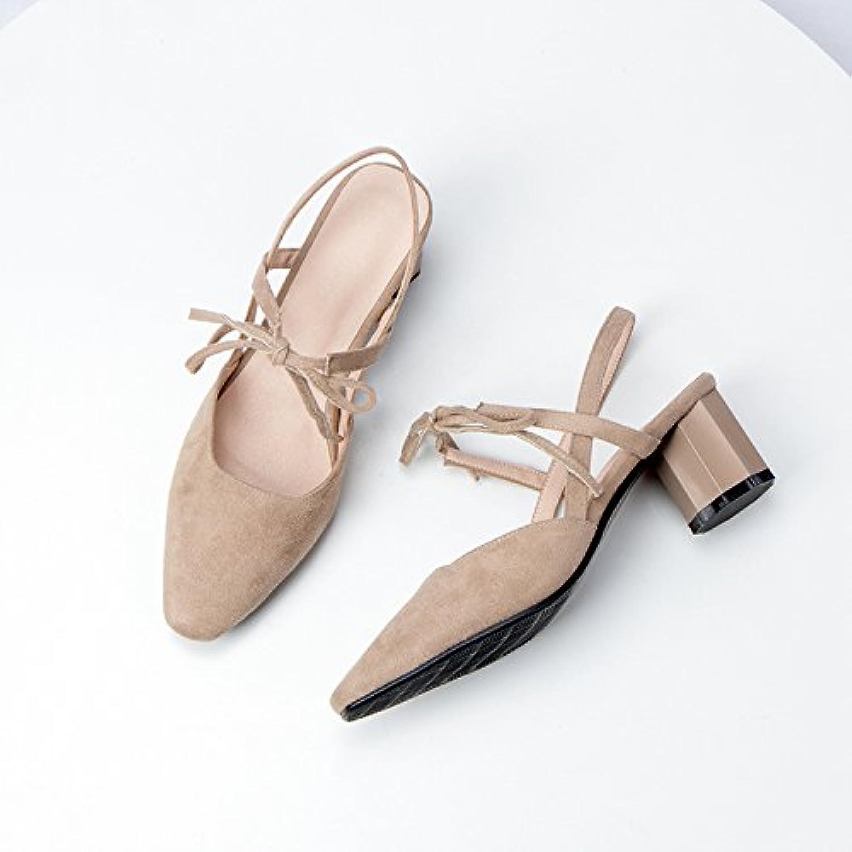GAOLIM Sandalen Weiblichen Sommer Grob- Und High Heels Damenschuhe Bow Tie Baotou Sandalen Und Vielseitig