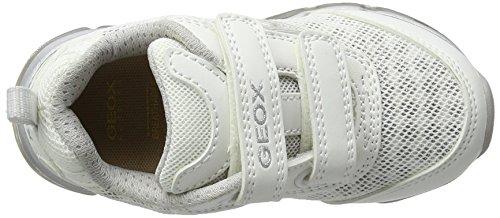 Geox J Android B, Scarpe da Ginnastica Basse Bambina Bianco (White/Silver C0007)