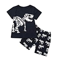 JYC/Cheap.SaleToddler Baby Kids Boys Dinosaur Summer Pajamas Sleepwear Tops Pants Outfits Set