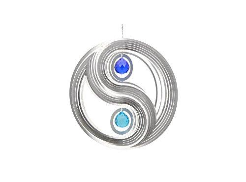 Illumino Windspiel Yin Yang für den Garten aus Edelstahl   40 mm Opal Glas-Kristallen   Rostfreies Metall   Garten-Dekoration für draußen zum Aufhängen   Türkis und Kobaltblau   300 mm Durchmesser