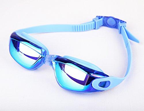 Hugesports anti-buée protection UV Lunettes de natation avec nez remplaçable pièce et coque, Homme, bleu