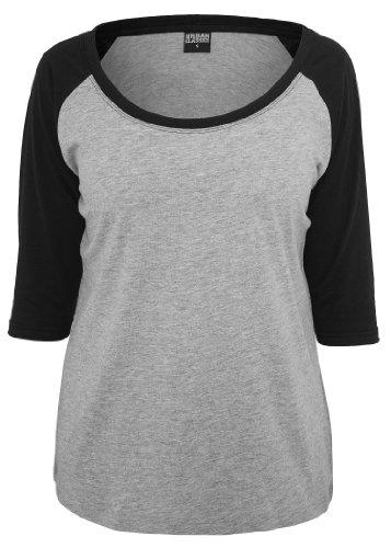 Urban Classics Ladies 3/4 Contrast Raglan Tee, grey/black, Schwarz/Grau, X-Large (Raglan-shirt 3/4)
