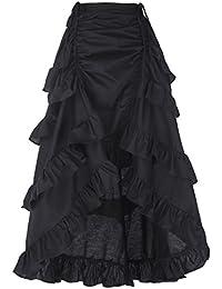 Belle Poque® Falda Muejeres Plisada de Fiesta con Volantes Vintage Asimétrico de Cóctel Rockabilly