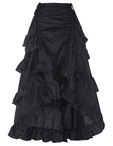 Gothic Rock Damen Rüschen Rock Baumwolle Steampunk Rock High Waist Rock L BP222-1