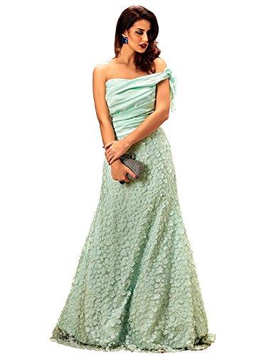 Khwaab Off Shoulder Light Turquoise (Pista) partywear designer Floor ...