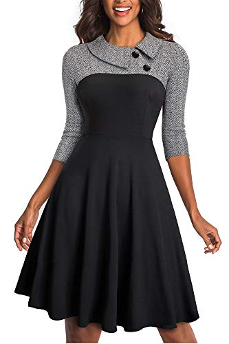 HOMEYEE Damen Vintage Revers Colorblock Houndstooth Patchwork Swing Business Kleid A121 (EU 36 = Size S, Grau Stoff B)