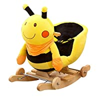YUMEIGE Rocking Horses Boy&girl Rocking Animal/Yellow Bee,Wood+Plush,Infant Rocking Rocking Plush Toys、Suitable for 5-36 Months Play,Rockin