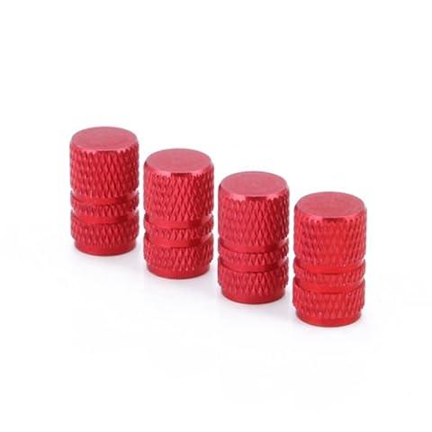 HDE Unique Mods Aluminum Car Tire Valve Caps (Fire Engine Red Cylinder)