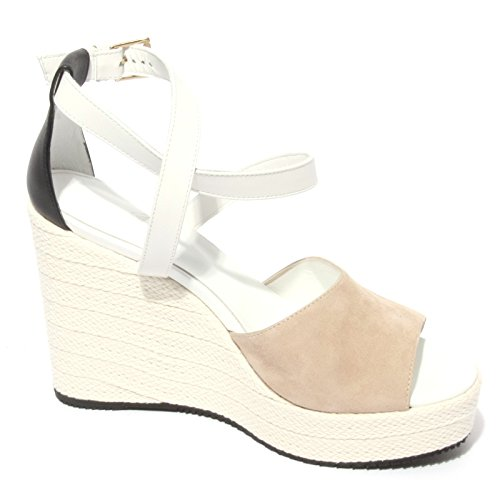 B0604 sandalo donna HOGAN scarpa zeppa corda shoes women beige/bianco/nero