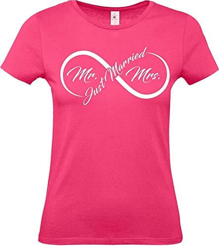 Lady T-Shirt, Just Married Hochzeit Liebe Endlosschleife, pink, XL -