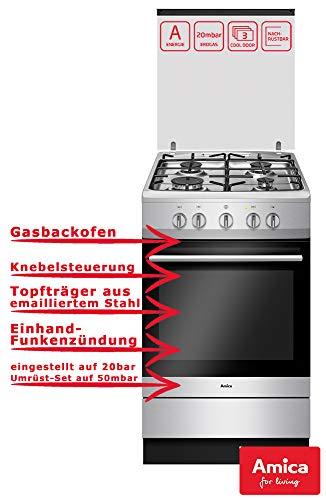 Gas Standherd | 50cm Breite | Gas Kochfeld & Gasbackofen | Nutzbar mit Flüssiggas & Erdgas | Abnehmbare Abdeckung aus Glas für Kochfeld | Stabile, schwarze Topfträger, emailliert |