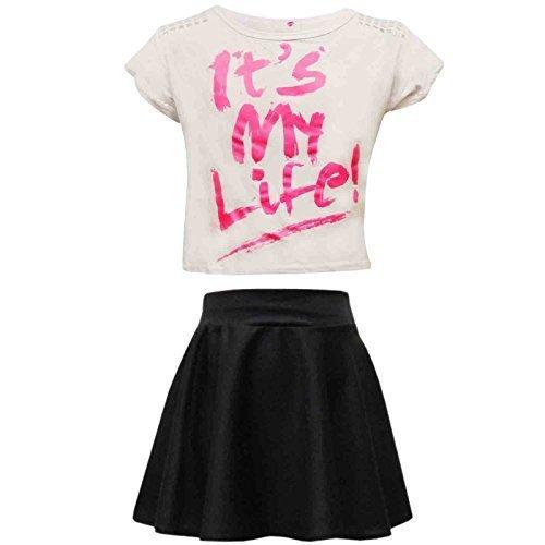 Kinder Mädchen Comic Graffiti Scribble Leopard #SELFIE #No Filter #Love NYC Paris New York 76 Epic OMG Bedruckt Mode Bauchfreies Top & Stylisch Schwarz Skater Rock Satz 7-13 Jahre - (Kostüme Einfache Epic)