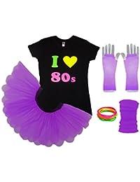 I Love The 80s Ladies Tutu Top Party Set Legwarmers Gloves Fancy Dress Neon Colours