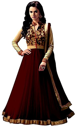Rensila Women's Brown & Beige Banglori Silk & Net Anarkali Salwar Suit