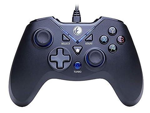 IFYOO V-one Vibrations-Feedback verdrahteten USB-Game-Controller Gamepad Joystick Für PC(Windows XP/7/8/8.1/10) & PS3 & Android - [Blau schwarz]