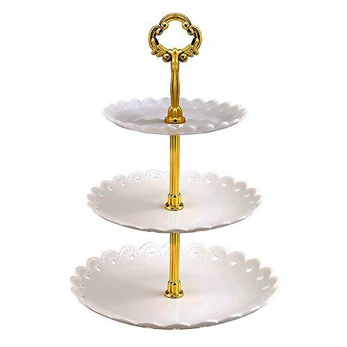 WE-WIN 3-Tier White Plastic Dessert Stand Konditorei Cake Stand Cupcake Stand Holder Serving Platter für Party Wedding Home Decor
