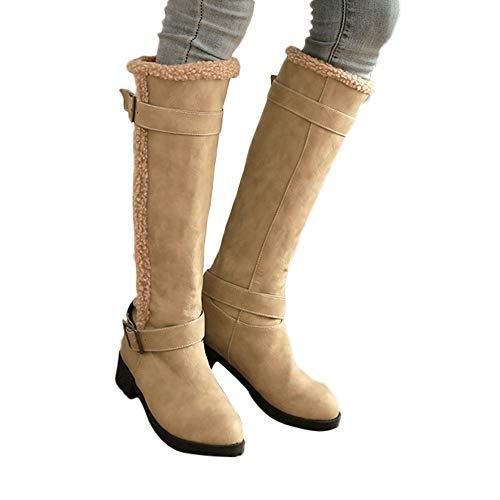 TianWlio Boots Stiefel Schuhe Stiefeletten Frauen Herbst Winter Warmer Schnee Boot Lässig Bequeme Warme Plüsch Winter Kniehohe Stiefel Weihnachten Gelb 37