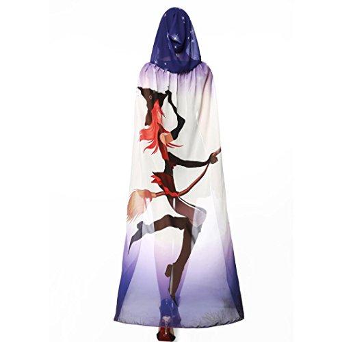Hexe Frauen Kostüme (HLHN Halloween Party Kapuzen Umhang, Kürbis Druck Hexe Zauberer Chiffon Karneval Fasching Kostüm Cape mit Kapuze)