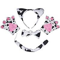 Vaca guantes de diadema pajarita cola 4piezas niños disfraz cumpleaños o fiesta