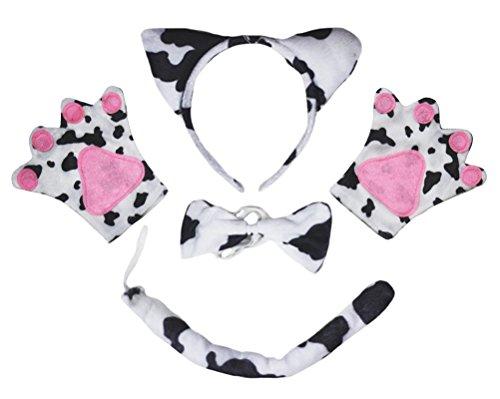 Kuh Stirnband Schleife Schwanz Handschuhe 3-teiliges Kinder Kostüm Geburtstag oder Party Gr. One size, weiß (Kuh Kostüm Kinder)