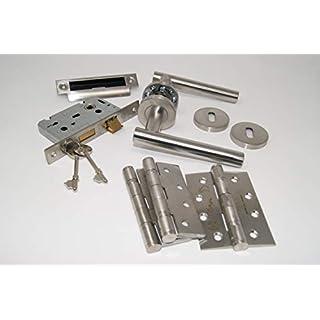 T Bar Door Handle Pack (Internal 3 Lever Lockset) with Hinges, for 45MM FIRE Door