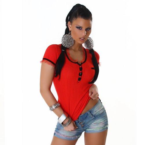 Damen Top Shirt Blusenshirt Onesize trendige Farben Rot