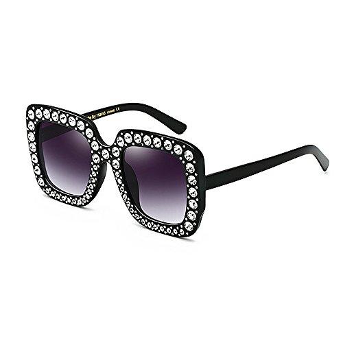 LINANA Übergroße Sonnenbrille der Kristalldame, quadratische Sonnenbrille für Frauen, Sonnenbrille uv-Schutz kühles Bling, Sonnenbrille für den Ball, der das Reisen fährt (Color : Gray)