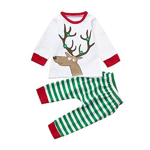 feiXIANG Säuglings T-Shirt Gestreifte Hosen Set Kleidung Weihnachtskleidungs Baby Junge Mädchen kostüm (Weiß,80)