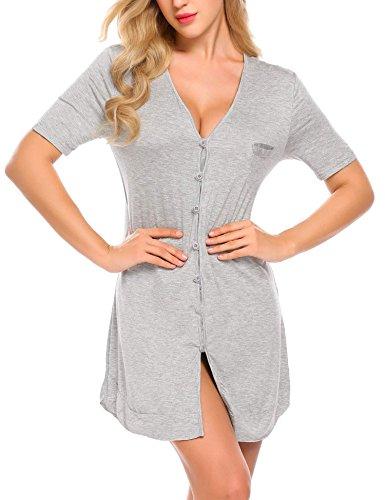 Adome donna camicia da notte scollo v pigiama indumenti da notte morbido con i pulsanti breve
