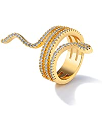 NEVI Zirconia 18K Gold Plated Snake Designer Party Wear Fancy Ring For Girls & Women (US Size 8)
