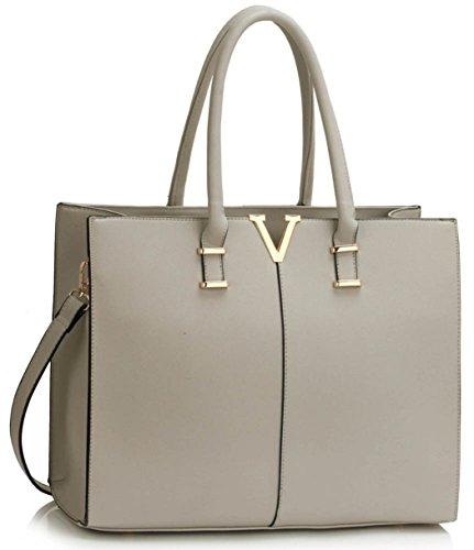 - 41S2Cr 2Bke L - Ladies Large Fashion Designer Celebrity Tote Bags Women's Quality Hot Selling Trendy Handbags CWS00319B CWS00319C CWS00319 (319C Grey V)