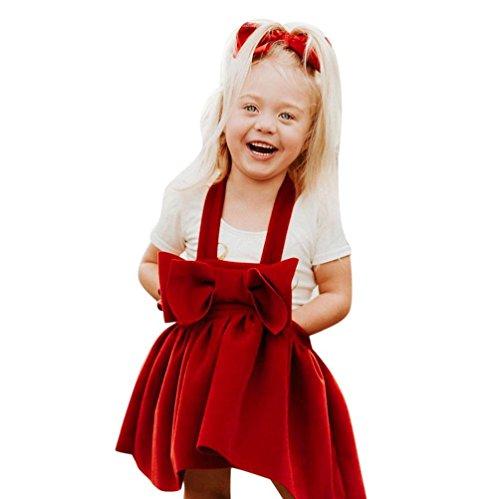 Kobay Kleinkind Baby Mädchen Kleid Langarm Prinzessin Party Pageant Kleider Kinder Kleidung (100/3-4Jahr, Rot)