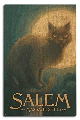 Salem, Massachusetts–Black Cat–Halloween Ölgemälde, holz, mehrfarbig, 10 x 15 Wood - Massachusetts Halloween An Salem