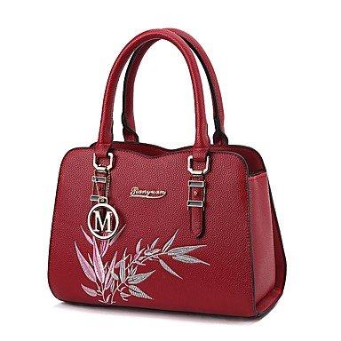 Damenmode PU Leder bestickt Schulter Messenger Crossbody-tasche/Handtasche Tote Wine