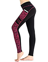 Munvot Legging de Sport Femme Taille Haute Collants Running Poches Pantalon  Amincissant Zumba Fitness 9a6b8ddce83