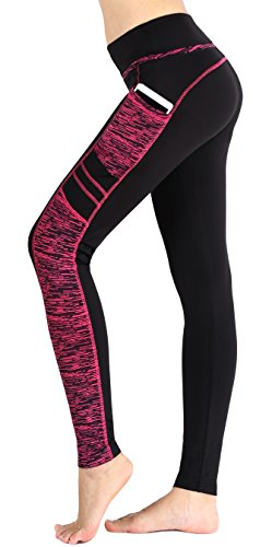 Munvot Femme Pantalon de Sport Collants Fitness Jogging Maigre Entraînement Taille Haute Noir/Rose S