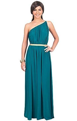 KOH KOH® Damen Schulterfrei Cocktail Maxikleid Griechische Göttin Elegantes Abschlussfeier Kleid, Farbe Grün, Größe L / Large (1920 Bride Kostüm)