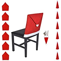WOSON 12 Pcs Party Dekoration Set - 6x Stuhlhussen + 6 Besteckhalter - für Haus Restaurant Hotel Hochzeit Party (Mütze)