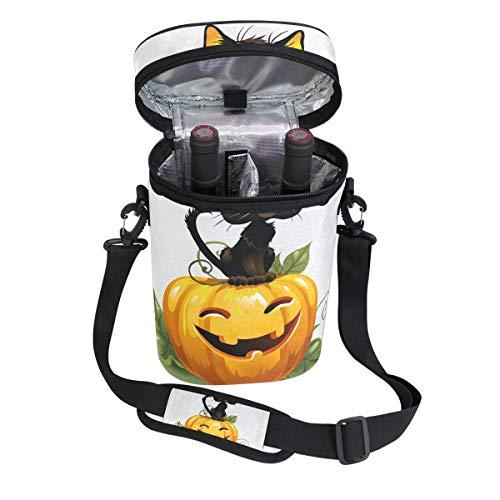 mit schwarzer Katze auf Halloween-Kürbis für 2 Flaschen, gepolstert, mit Griff und verstellbarem Schulterriemen ()