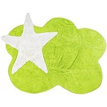 Aratextil–Alfombra para habitación infantil 100% algodón color verde pistacho–diseño estrellas/nube, 120x 160cm Peso aproximadamente 2,8kg decoración habitación infantil original colores y de calidad