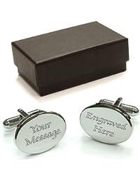 Personalised Oval Rhodium Cufflinks, Engraved FREE, Birthday, Wedding, Anniversary Gift