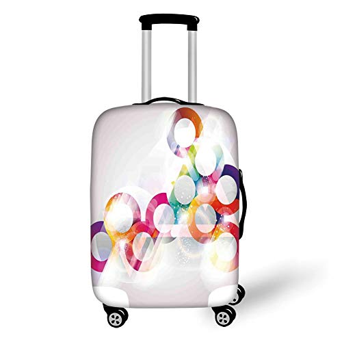 Travel Luggage Cover Suitcase Protector,Abstract,Disc Shaped Circular Patterned Gradient Bubbles with Effects Artwork Print,Purple Orange,for Travel M